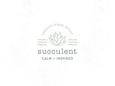 SUCCULENT CALM + INSPIRED waves succulent icon illustration branding logo