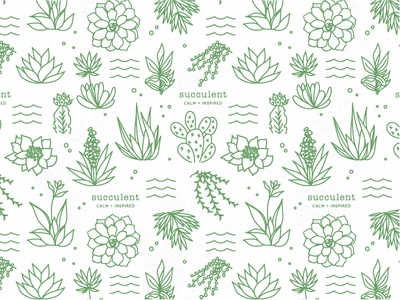 SUCCULENT PATTERN prickly pear succulents background seamless icon illustration logo