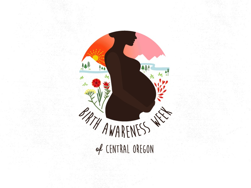 BIRTH AWARENESS WEEK blanket flower juniper yarrow indian paintbrush mother pregnancy birth birth awareness logo wildflowers flowers illustration
