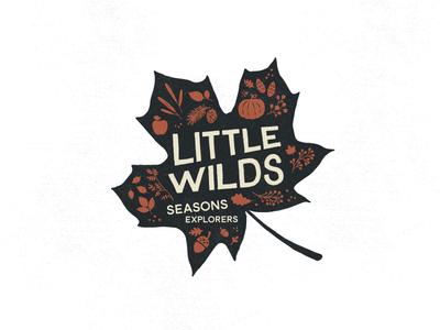 LITTLE WILDS : AUTUMN nature kids explorers little wilds berries pine cones logo autumn fall leaves illustration