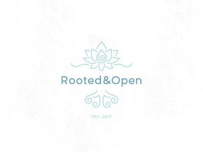 ROOTED&OPEN spiral roots lotus branding logo
