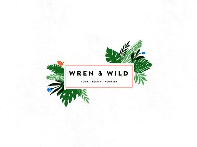 WREN & WILD wren botanical illustration botanical wildflowers flowers icon illustration branding logo
