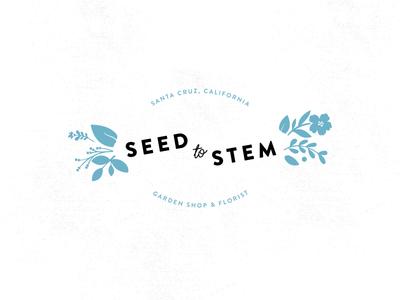 SEED TO STEM stem seed floral illustration logo florist garden shop garden flower