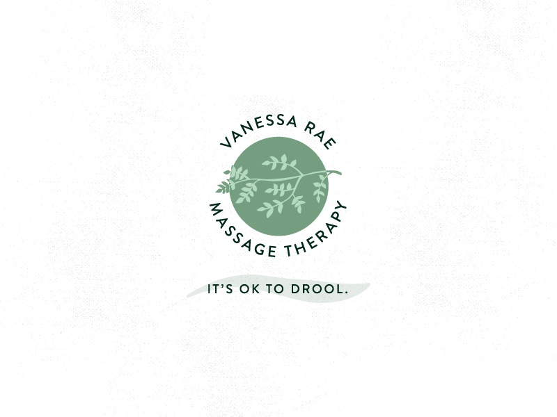 VANESSA RAE MASSAGE oregon leaves greenery sage illustration logo massage therapy massage