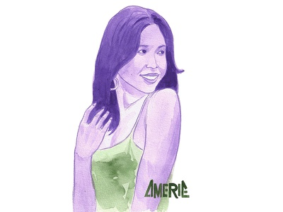 Amerie blasian watercolor asian american amerie illustration portrait watercolor portrait