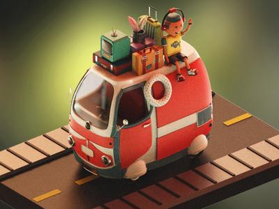 Road Trip (3D version) charactermodel 3dmodel roadtrip picnic traveling travel vanmodel van 3dcharacter shading c4d 3dillustration maya cinema4d lighting keyshot 3d 3d modeling