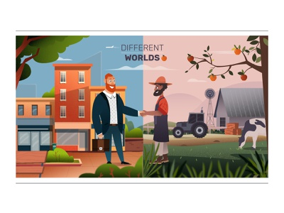 Different Worlds handshake trees buildings landscape farmer conceptart 2dart businessman characters city farm 2dillustration illustration