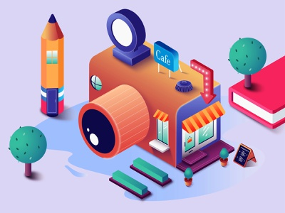 Cafe! cameracafe pencil isometric design 2dart isometric illustration isometric art camera cafe 2d