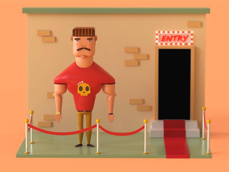 Character design 3 (Bouncer) shading modeling lighting illustration 3d