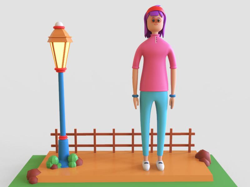 Character design character illustration shading character design girl character keyshot maya 3d modeling