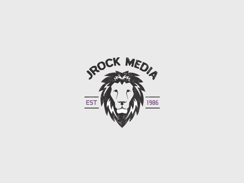 JRock Media logo concept web lion flat grunge modern branding graphic design logo