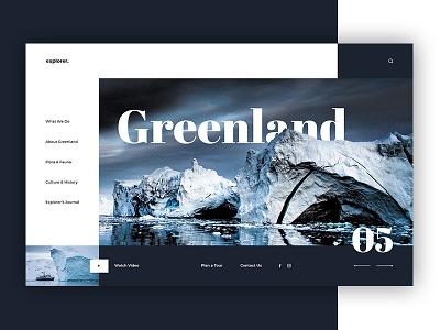 Greenland - travel website concept concept design minimalistic design winter adventure travel ice greenland uiux website explorer explore