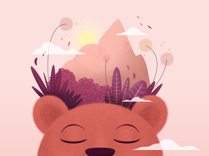 Awakening artwork drawing nature bear shapes adobe photoshop illustration