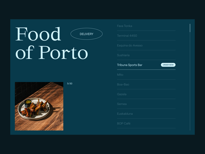 Food (Delivery) of Porto food layout clean minimal color whitespace grid delivery service ui ux website web typography concept