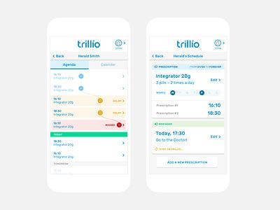 Trillio Prescription Tracking App medical app timeline tracking prescription medical ux ui