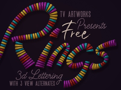 Free Colorful Rings 3D Lettering