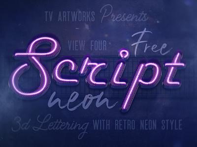 Free Script Neon 3D Lettering retro script neon font neon free font lettering 3d lettering freebie font free graphics free 3d typography