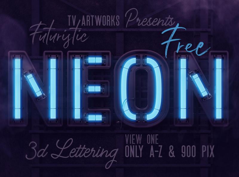 FREE Futuristic Neon 3D Lettering
