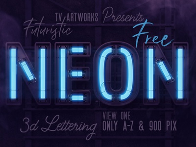 FREE Futuristic Neon 3D Lettering display font futuristic neon font neon free font lettering 3d lettering freebie font free graphics free 3d typography