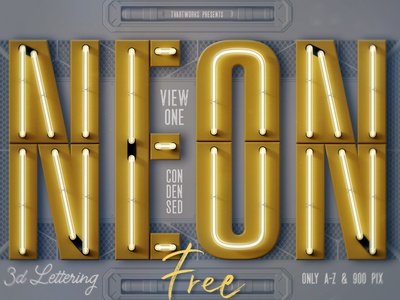 FREE Condensed Neon 3D Lettering header png futuristic future light neon font neon free font lettering 3d lettering freebie font free graphics free 3d typography