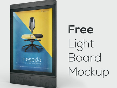 Free Light Board Mockup 2 deeezy poster light board board billboard free template photoshop template free mockup mock-up mockup free graphics 3d free