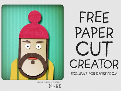 Free Paper Cut Portrait Creator for kids cute funny paper art paper cut portrait creator portrait photoshop template photoshop free graphics free template freebie free