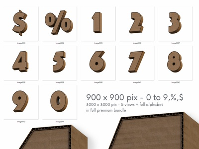 Cardboard - Free 3D Numbers paper cardboard numbers 3d typography 3d font deeezy free font lettering 3d lettering font typography freebie 3d free graphics free