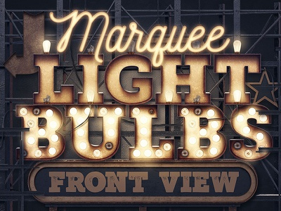 Marquee Light Bulbs - Front View logo vintage typography artdeco steampunk vintage 3d lettering light bulbs typography fonts font bundle deal