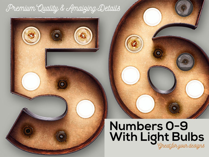 FREE Marquee Light Bulbs 3D Numbers