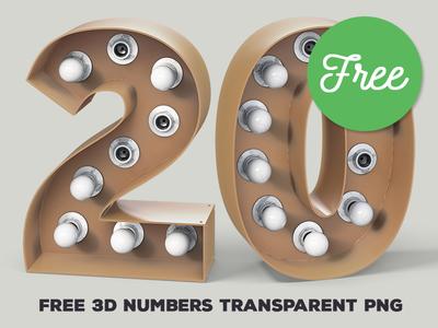 Free White Bulbs 3D Numbers