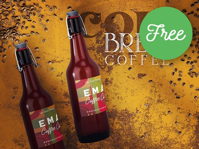 Free Bottle & Coffee Mockup