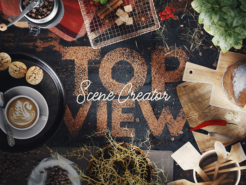 Coffee Scene Creator – Top View 3d bundle template photoshop interior kitchen coffee top view mock-up mockup creator scene