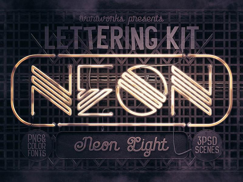 Neon Light Lettering Kit typography creator typography steampunk sign creator retro vintage scene creator color font 3d lettering 3d photoshop neon lettering neon font neon light neon sign neon dealjumbo deal