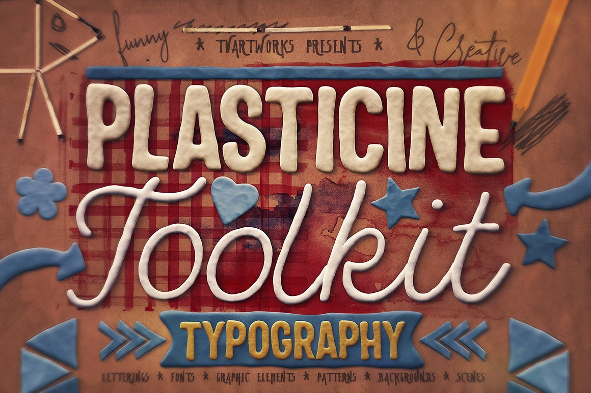 Plasticine Typography Creator template photoshop creator toolkit lettering font typography shapes graphics playdoh clay plasticine
