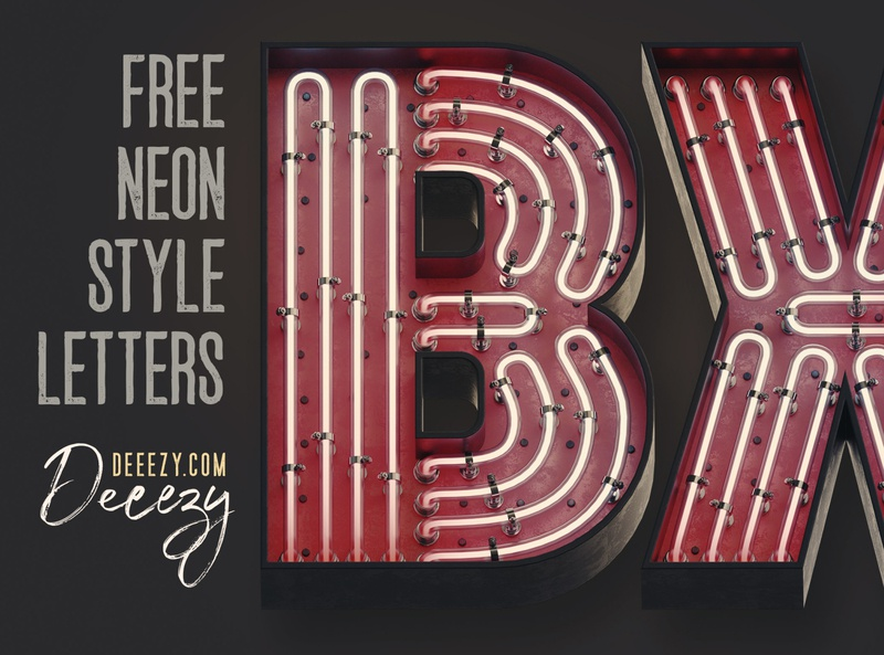 Free Bold Neon 3D Lettering