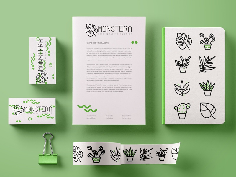 Monstera Stationery businesscard brand identity vector logo illustration stationery branding
