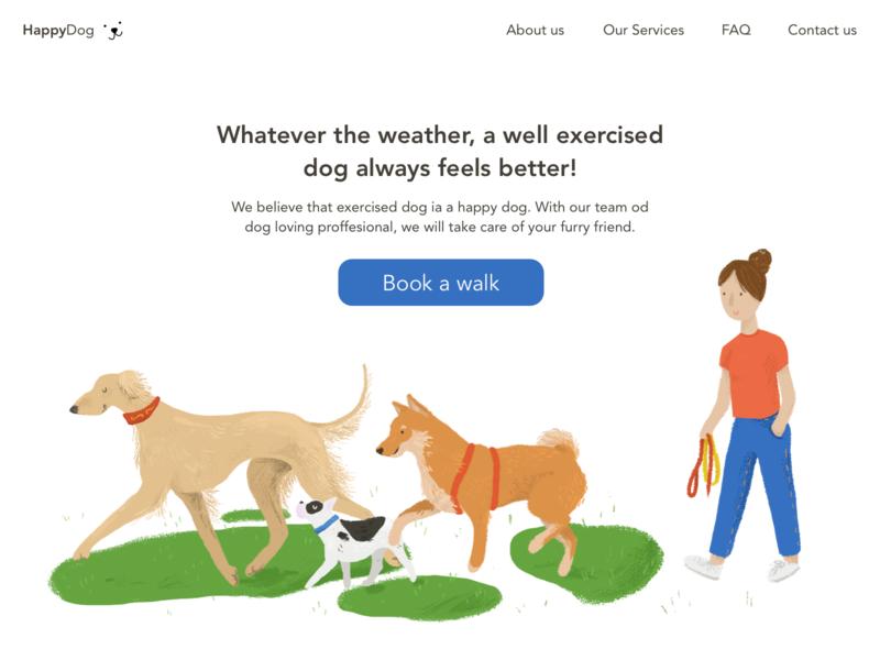 HappyDog Landing Page ui design illustration dogwalking homepage landingpage