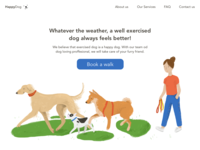HappyDog Landing Page ui design illustration dogwalking homepage landingpage