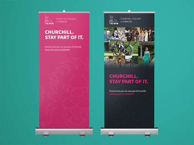 Print design: Churchill College alumni pink design college print banner university education cambridge university cambridge churchill college