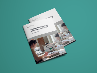 Print Design: Churchill College form donation university education alumni design cambridge print brochure