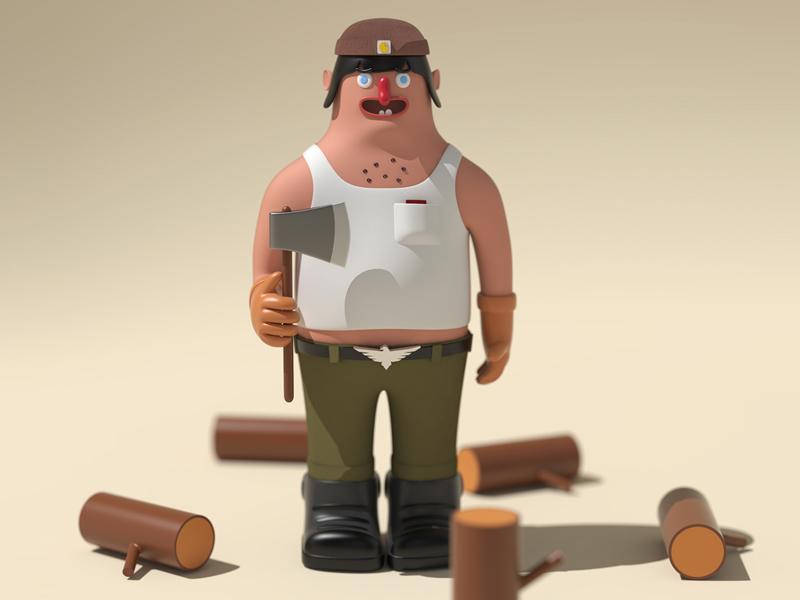 Tonko the lumber jack vectary 3d vectary texture render design character design character cartoon 3dmodel 3d