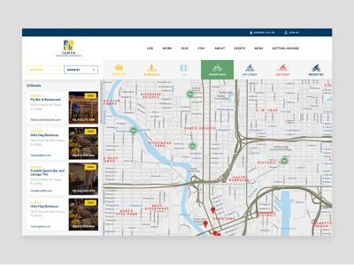 Tampa Downtown Partnership - Map web ux ui listing directory flat directory clean booking