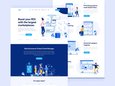 Product Feed Landing Page woocommerce web ux ui sales product fed product marketplace landingpage clean