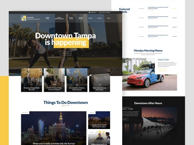 Tampa downtown partnership typography site partnership event directory clean brand design