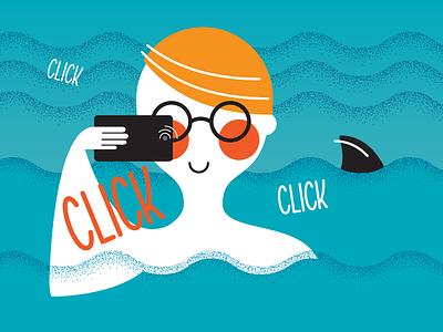 Generation Selfie. tanning waves sun photo shark blue orange click sea generation phone selfie