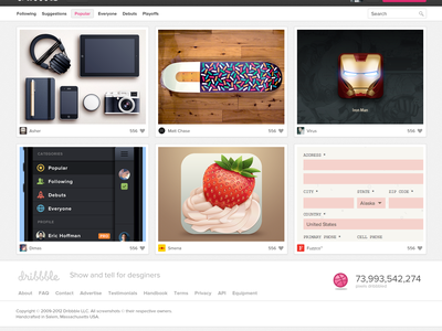 Dribbble simplyfied dribbble ui redesign gui ux usability shot