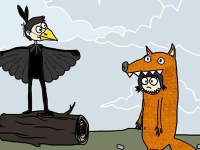 Le corbeau et le renard fable illustration