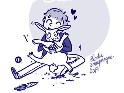 blue bunny illustration