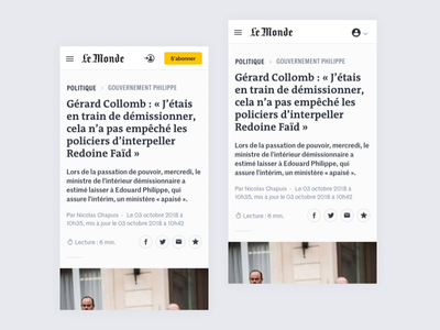 Le Monde - Article button favorite share newspaper news scrolling scroll navbar interaction interactive navigation mobile article interface design ux ui