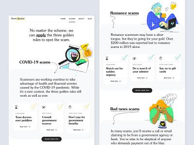 Scam Spotter — Website information line draw ux illustration playful game google spotter scam page landing design uidesign uiux ui productdesign product website web
